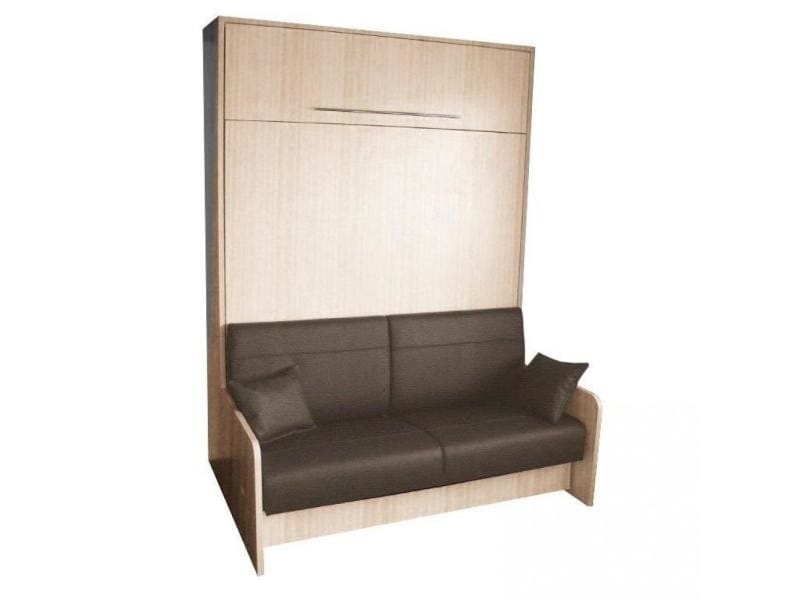 armoire lit escamotable space sofa ch ne canap int gr marron couchage 140 20 200 cm. Black Bedroom Furniture Sets. Home Design Ideas