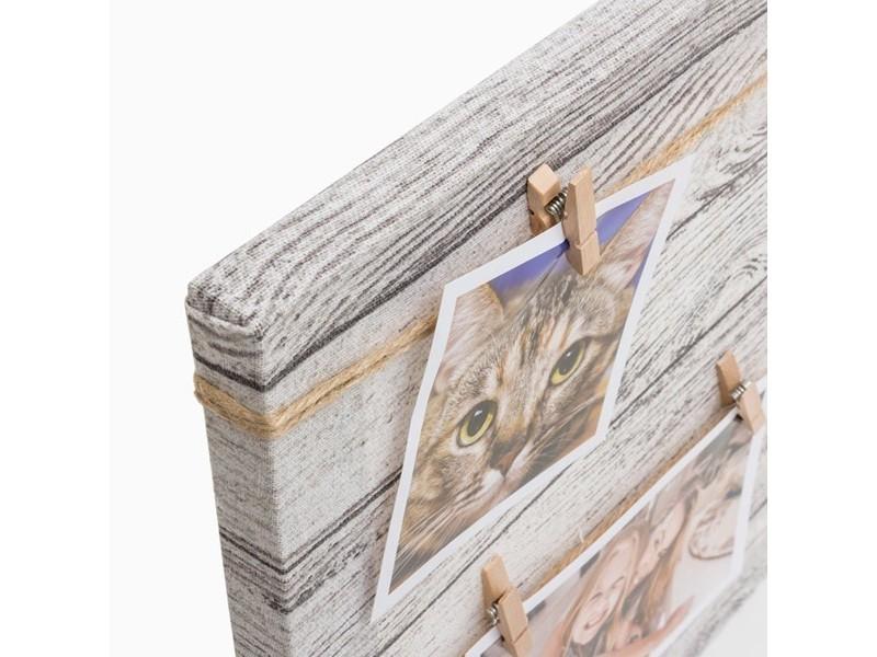 Cadre photos avec pinces sur cadre en bois 6 photos - Guirlande porte photo avec pinces linge ...