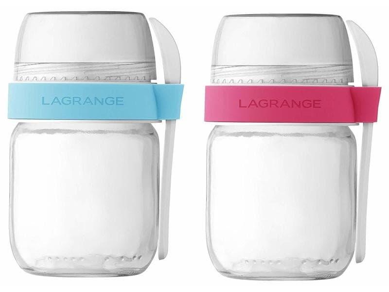 Lagrange lot de 2 pots compartimentes 440403 - transparent et blanc LAG3196204404038
