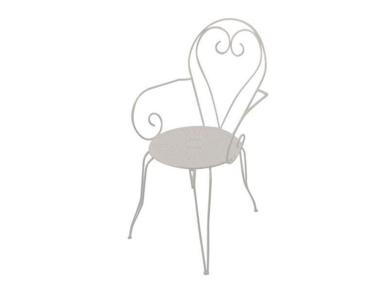 Chaise de jardin - fauteuil de jardin - tabouret de jardin lot de 4 fauteuils de jardin romantique empilable en fer forgé - blanc