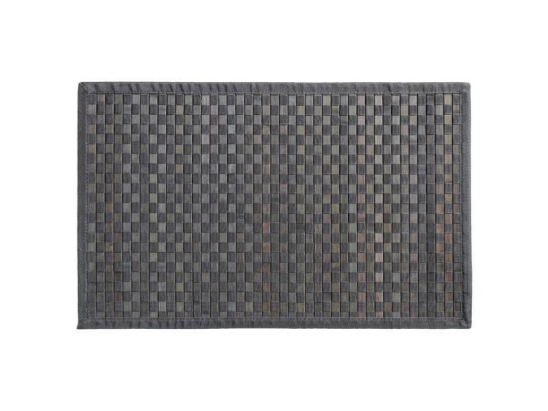 Tapis bambou damier 120x170 cm gris foncé