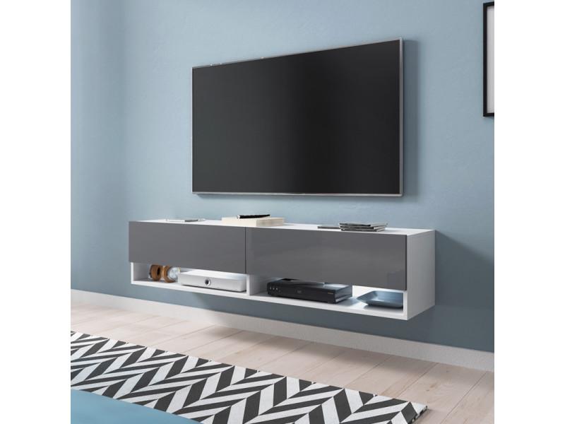Meuble tv - WANDER - 140 cm - blanc mat / gris brillant - LED