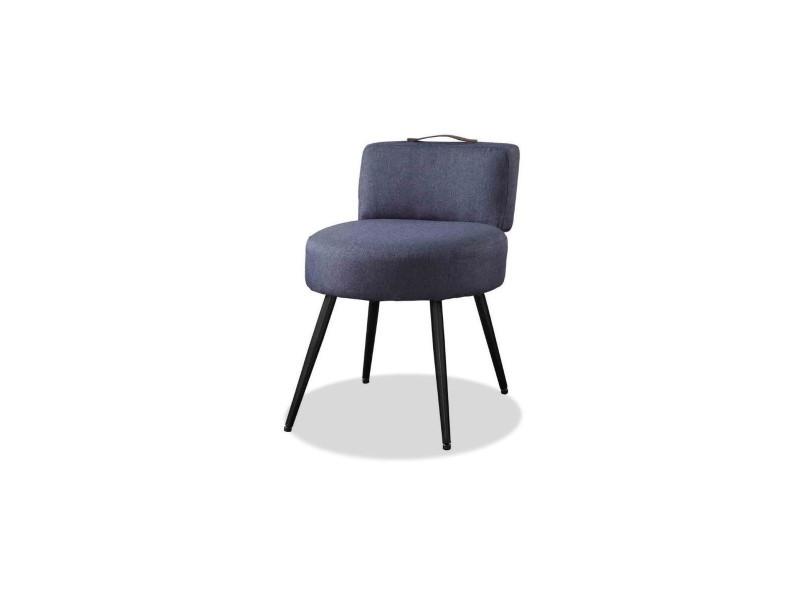 Lilo1 fauteuil pieds métal - tissu gris anthracite - l 44 x p 45 x h 63 cm