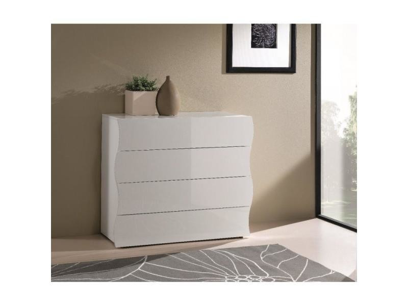commode vague 4 tiroirs blanc brillant 20100836359 conforama. Black Bedroom Furniture Sets. Home Design Ideas