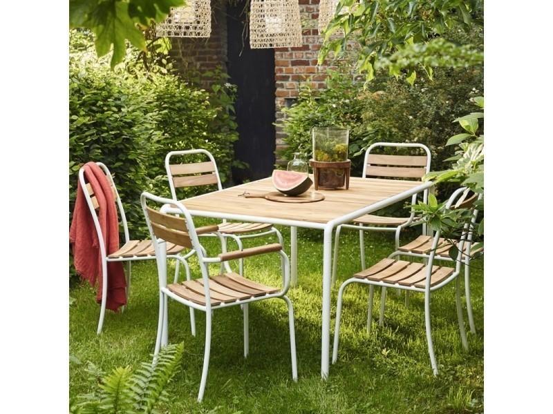 Salon de jardin en bois d\'acacia fsc et métal 4 à 6 places - Vente ...