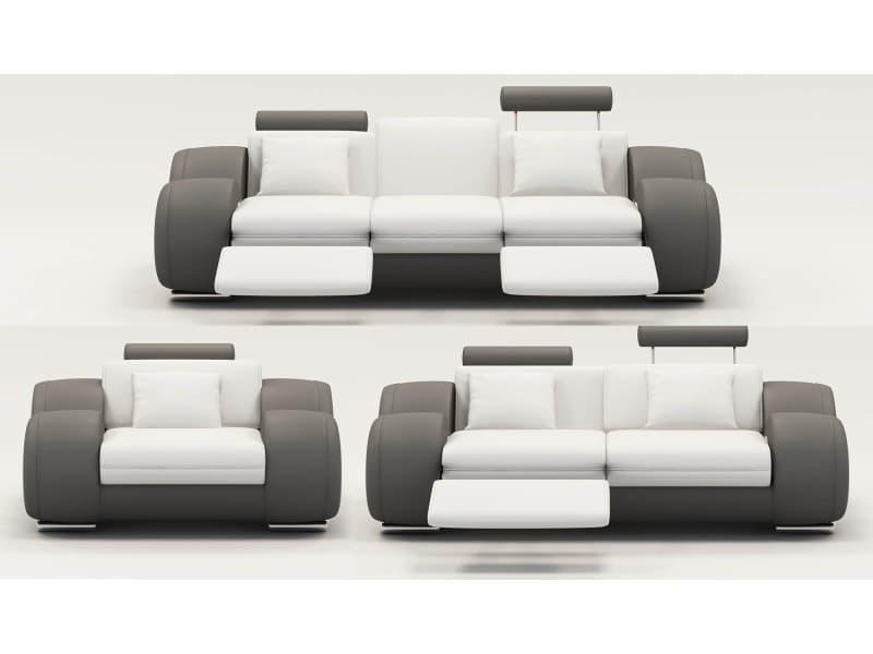 Ensemble cuir relax oslo 3+2+1 places blanc et gris-
