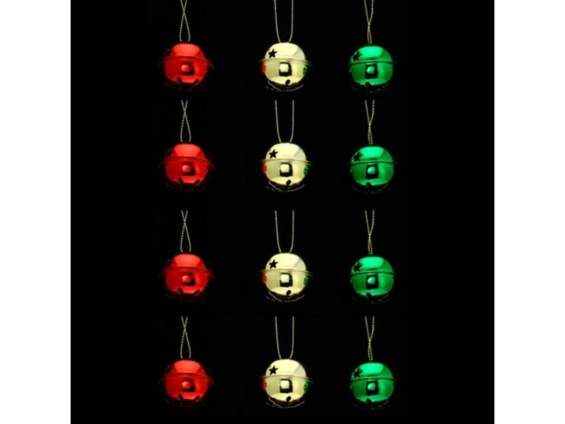 Lot de 12 grelots brillants - rouge, vert et or