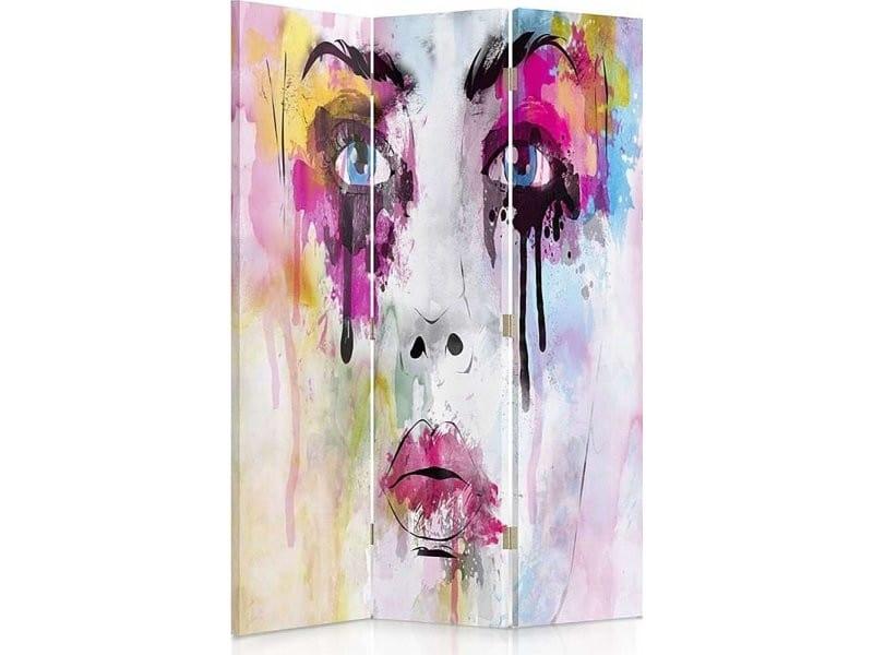 Paravent 3 volets visage avec des taches de peinture 1 coté PAR/3CZ-1S/M_31076/110x150