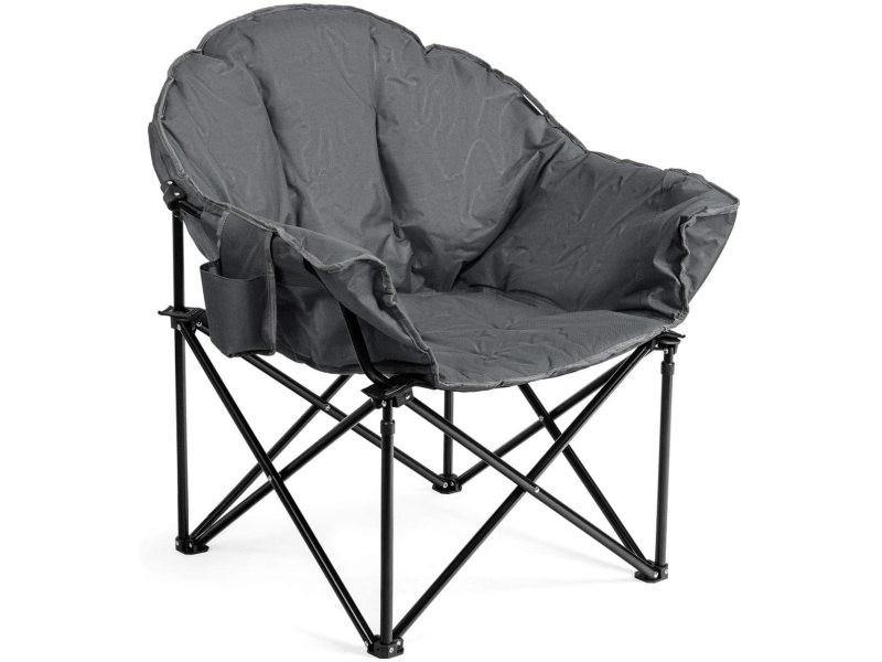 Giantex chaise de camping pliante surdimensionnée avec coussin rembourré,porte-gobelet,sac de transport pour pêche/jardin/plage