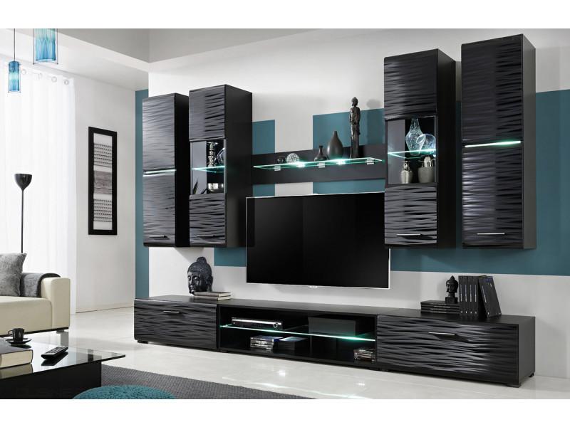 Ninja ensemble meuble effet 3d led 280 cm pour hifi et tele