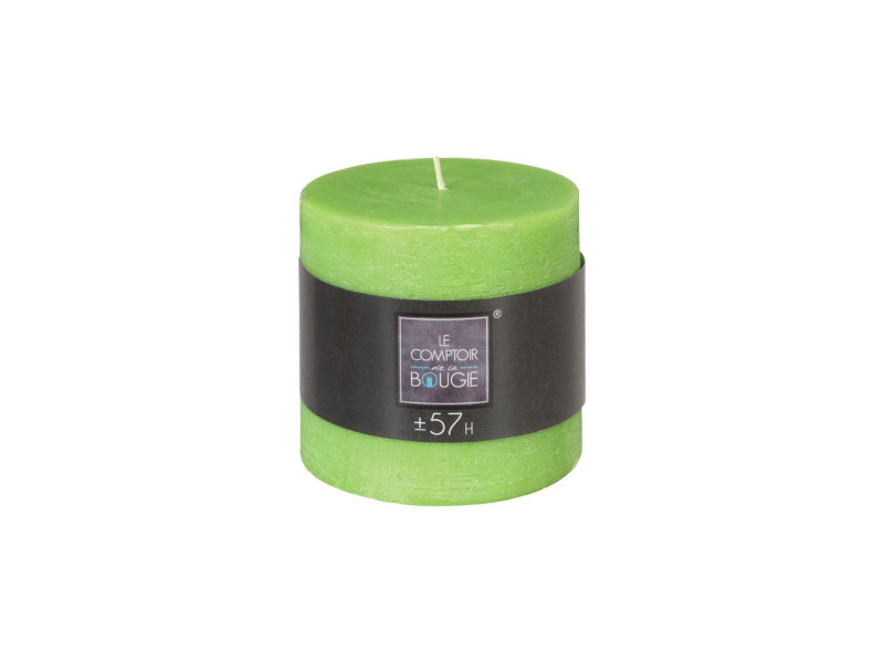 Atmosphera - bougie ronde rustique vert d 10 cm