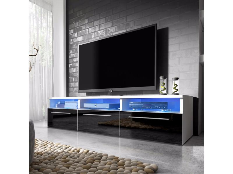 Meuble Tv Meuble Salon Lavello 140 Cm Blanc Mat Noir