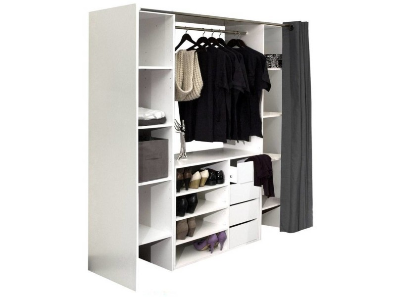 dressing extensible chica 2 colonnes 4 tiroirs blanc avec rideau anthracite 20100848320 vente. Black Bedroom Furniture Sets. Home Design Ideas