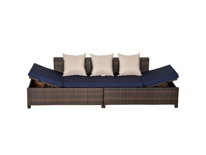 Canapé lit de jardin 3 places inclinable latéralement matelas et coussins inclus résine tressée imitation rotin chocolat