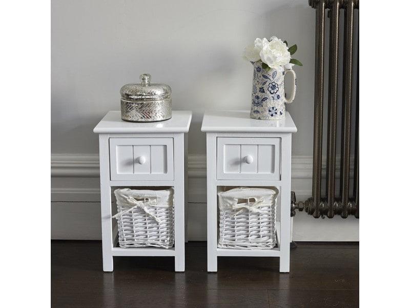 table de chevet osier blanc