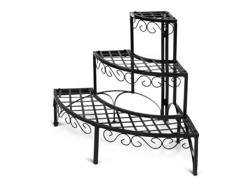 escalier tag re porte plantes d 39 angle en fer 3 niveaux m tal noir helloshop26 2201057 vente. Black Bedroom Furniture Sets. Home Design Ideas