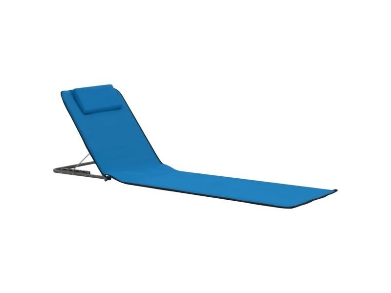 Vidaxl tapis de plage pliables 2 pcs acier et tissu bleu 44327