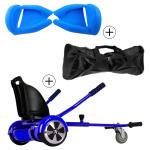 Accessoire hoverboard 6,5 pouces :  pack essentiel 3 en 1 : hoverkart +  coque/housse silicone bleu +  sac de transport