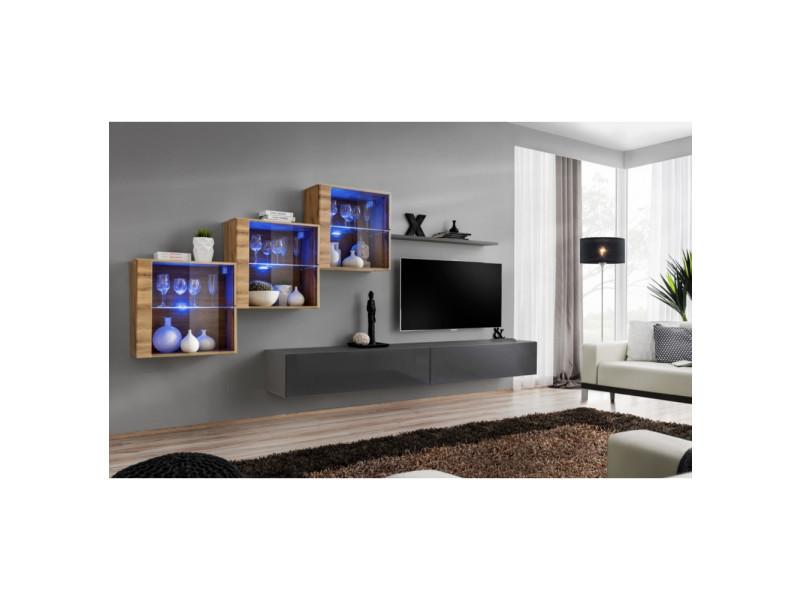 Ensemble mural - switch xx - 3 vitrines - 2 bancs tv - 1 étagère - bois et graphite - modèle 1