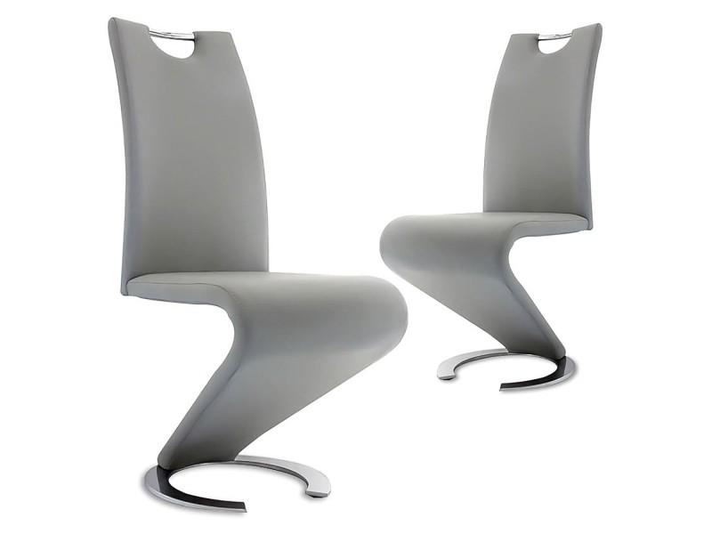 Kiza - lot de 2 chaises design en simili cuir gris