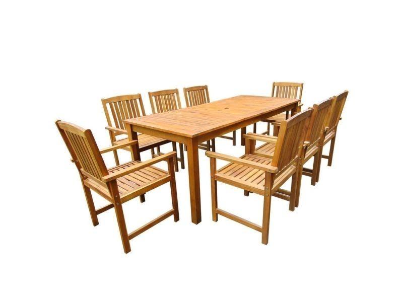 Vidaxl mobilier de jardin 9 pcs bois d\'acacia massif marron ...