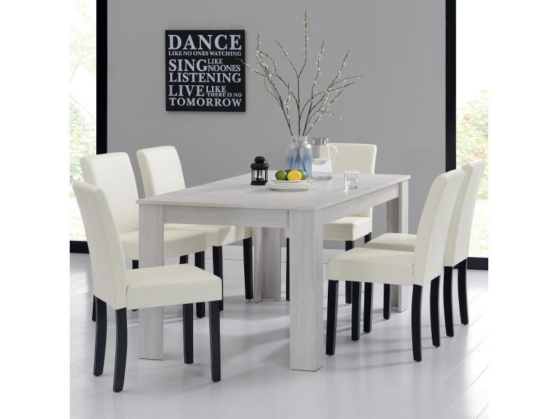 [en.casa] table et jeu de chaises 'oslo' (blanc - 160x90) 6 chaises (rembourrées - crème) - en pack économique