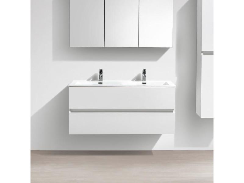 Meuble salle de bain design double vasque siena largeur 120 cm, blanc laqué  - Vente de Salle de bain prêtes à emporter - Conforama cef93b037445