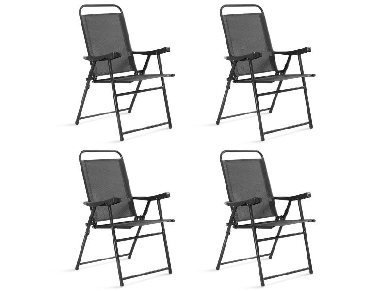 Giantex lot de 4 chaises de jardin pliantes et portables avec accoudoirs, siège en textilène respirante confortable, cadre en acier pour jardin, terrasse ou bord de la piscine,balcon, gris foncé