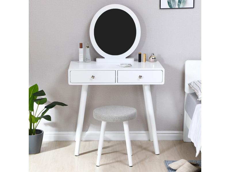 Coiffeuse hombuy 2 tiroir, miroir rond, 80 * 40 * 125 cm blanc