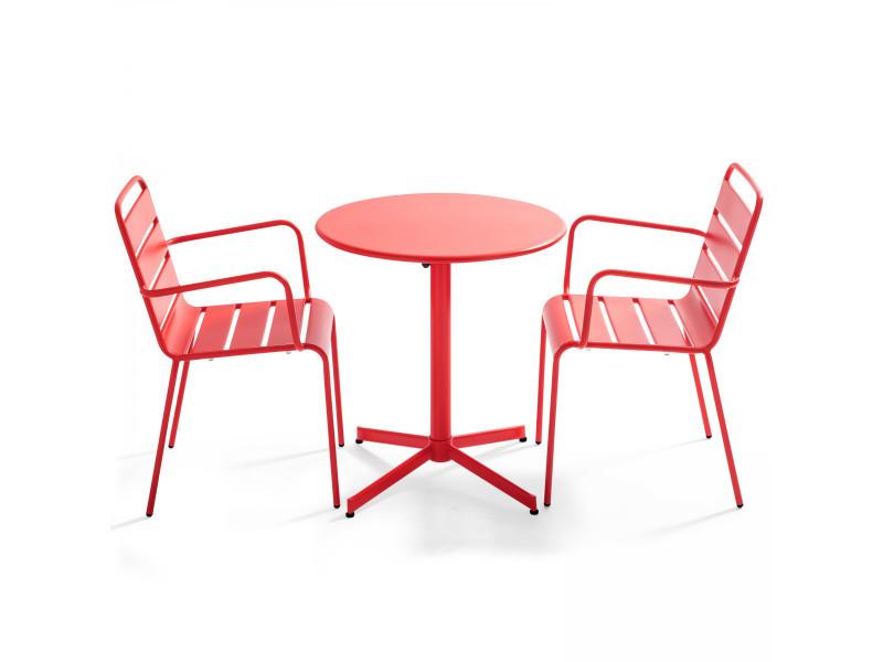 Table de jardin ronde bistrot rabattable en métal ⌀70cm et 2 fauteuils palavas 2 places acier rouge