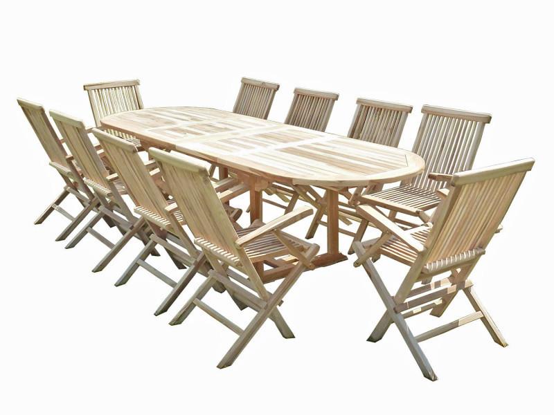 Ensemble salon de jardin en teck henua 10 fauteuils pliants - Vente ...