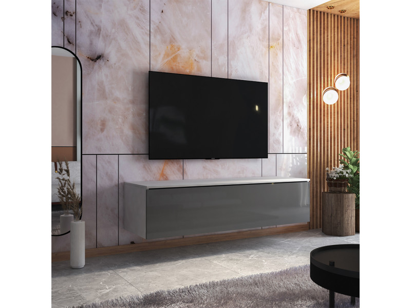 Meuble tv - skylara - 160 cm - blanc mat / gris brillant