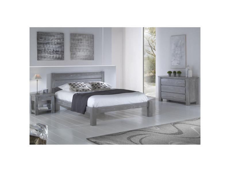 Chambre complète (140*190) bois massif gris - gabriel - l 153 x l ...