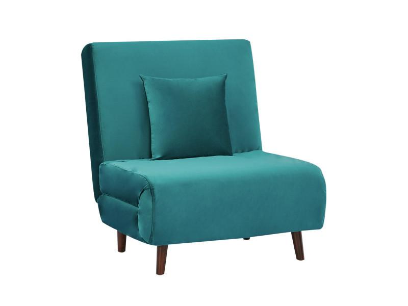 Adron - fauteuil convertible lit 1 place en velours - couleur - bleu canard LAH-179N16-P76-CR-18