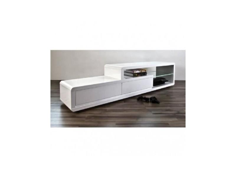 Meuble tv, meuble de salon nels blanc laqué + led - Vente de ...