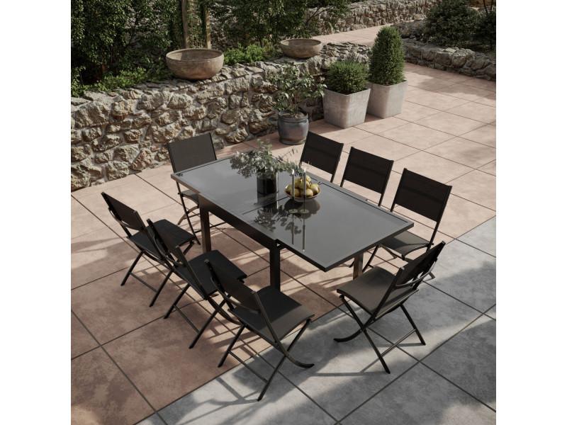 Table de jardin extensible aluminium verre 90/180cm + 8 ...