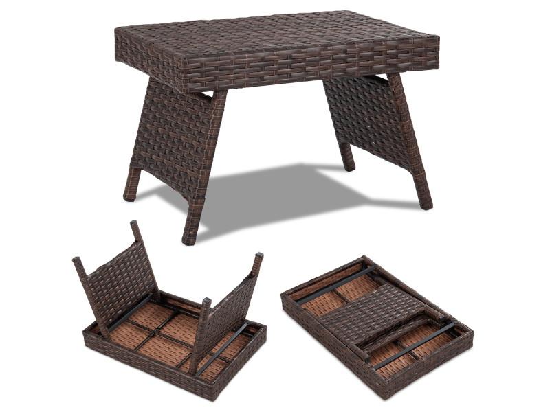 Giantex table pliable de jardin en polyrotin,table d'appoint pliable en résine tressée pour jardin,balcon,terrasse 60 x 40 x 39cm