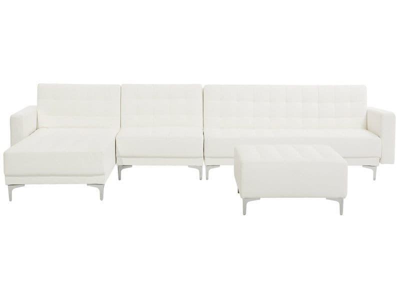 Canapé angle droite convertible simili-cuir blanc 5 places avec pouf aberdeen 150487