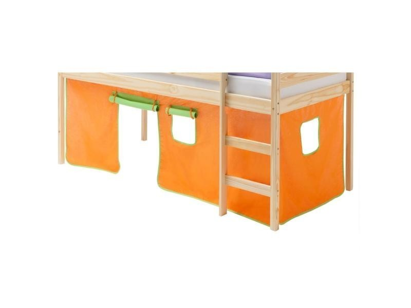 rideaux pour lit superpos lit sur lev coton orange et vert conforama. Black Bedroom Furniture Sets. Home Design Ideas