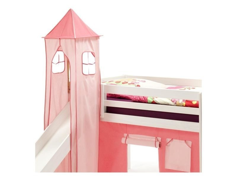 donjon tour tente pour lit sur lev avec toboggan coton rose vente de lit enfant conforama. Black Bedroom Furniture Sets. Home Design Ideas