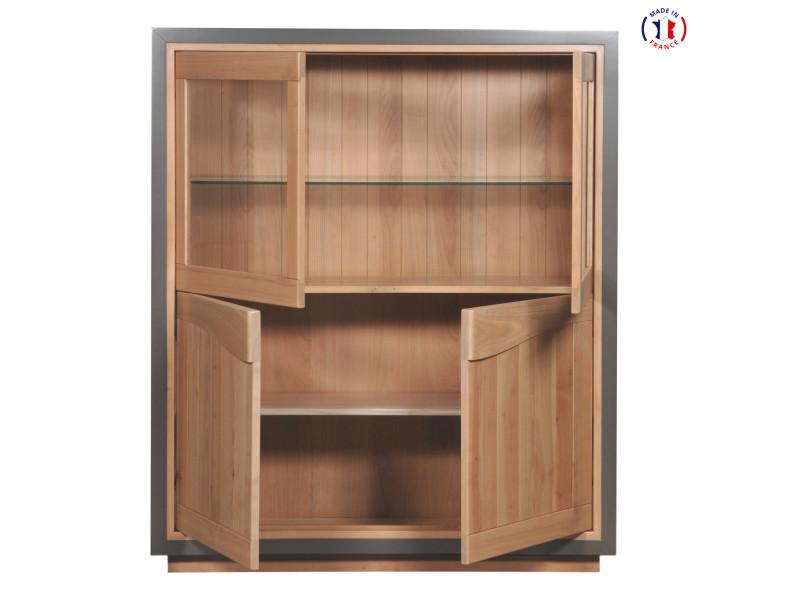 Vitrine 4 portes design en bois massif merisier naturel et gris taupe-100% made in france
