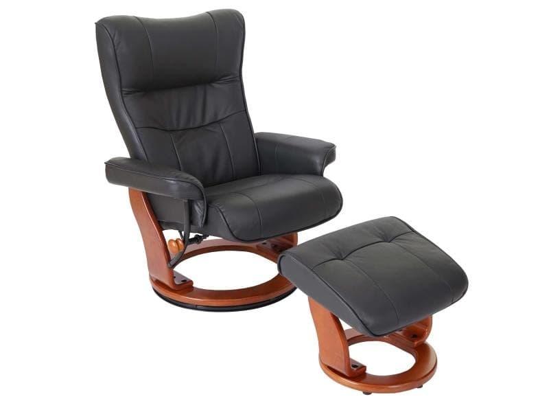 Mca fauteuil relax montreal, fauteuil de télévision, tabouret, cuir, charge 130kg ~ noir, doré