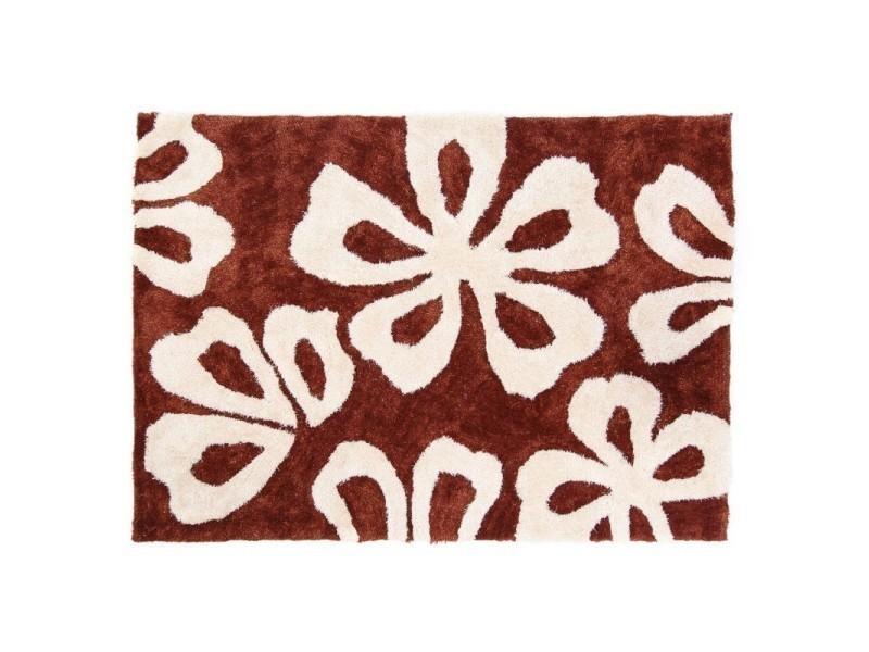 Tapis shaggy marron avec motif fleurs 120x170 cm tap06008 - Vente de ...