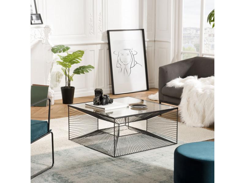 Table basse carrée métal plateau verre