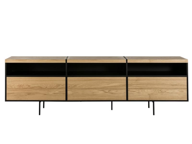 Meuble tv bas moderne en bois et metal - brighton