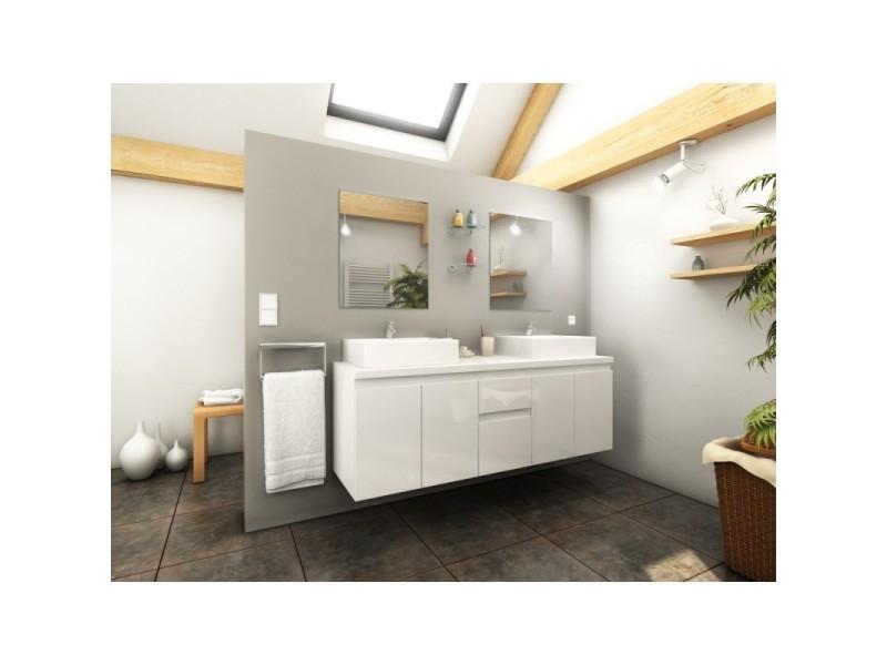 Meuble De Salle De Bain Double Vasque 150 Cm Blanc Coralie L 150