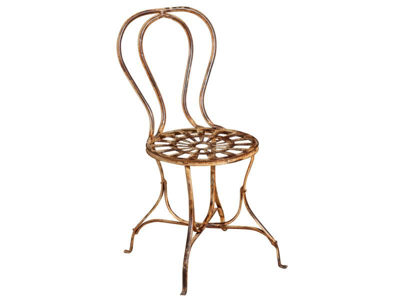 Chaise de salle à manger de jardin d'extérieur en finition crème antique en fer forgé