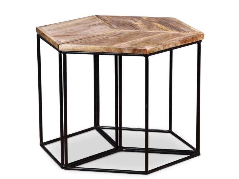 Vidaxl table basse bois de manguier massif 48 x 48 x 40 cm 243976