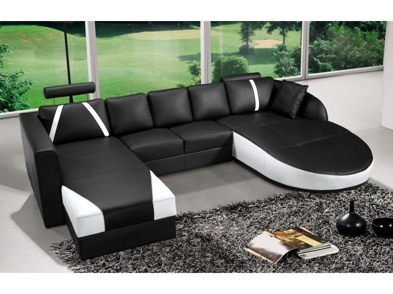 Canapé d'angle en cuir noir et blanc sonia-