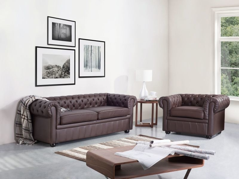 canap 3 places en cuir marron chesterfield 2071 vente. Black Bedroom Furniture Sets. Home Design Ideas